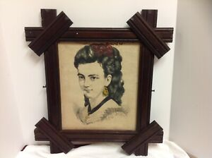 Antique Vtg Eastlake Criss Cross Carved Wood Picture Frame 22x20 Woman Print