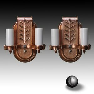 Pair Vtg 1940 Victor Copper Wall Sconce Light Fixtures Restored