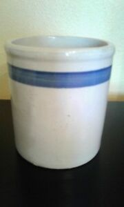 Vintage Small Crock Blue Stripe Crock Pottery Primitive Concave Inside Bottom