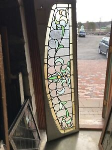 Sg 2943 Antique Arch Top Stained Glass Transom Window 19 25 X 70