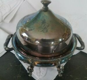 Silver Plate Butter Dish Covered Box Forbes Silverplate Monogram B Ornate