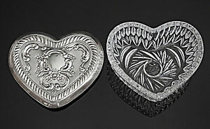 Towle Vintage Cut Glass Sterling Silver Lid Heart Shaped Trinket Box