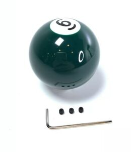 Pool Ball Gear Shift Knob Solid Green Number 6