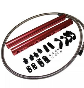 For Gm Chevy Red Billet Aluminum Ls1 Ls6 Intake Fuel Rails W 6an Fitting Kit