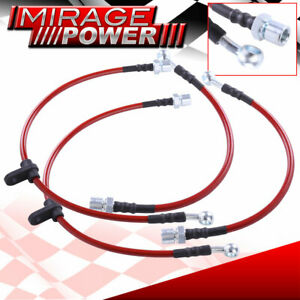 Red Stainless Steel Braid Hose Racing Oil Brake Line Black For 92 00 Sc300 Sc400