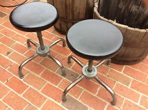 2 Same Vintage Ajustrite Metal Stools 15 To 20 13 Seats Very Good