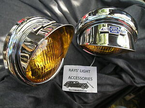 New Pair Small Vintage Style Amber Color Fog Lights With Visors 12 volts B t V