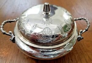 Antique Tiffany Jc Moore Sterling Silver Covered Butter W Insert 550 Broadway