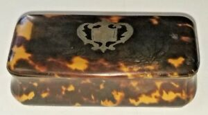 Faux Tortoise Shell Box 18th 19th Century With Silver Inlaid Crest No Mono