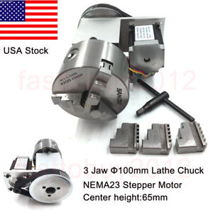 Cnc 4th Axis Hollow Shaft Rotary Table Router Rotational Axis 100mm 3jaws Chuck