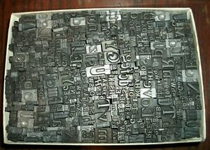 No 101 Vintage Lot Of 500 Pieces Letterpress Printers Lead Type Letters Numbers