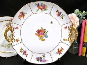 Limoges France Floral Double Handle Cake Plate Rose Floral Bouquet Charger Plate