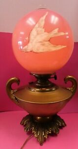 Antique Oil Kerosene B H Miller Victorian Banquet Lamp Glass Pink Swift Bird