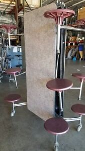 Refurbished Folding Cafeteria Table Grey Pink Glace Top W 12 Burgundy Stools