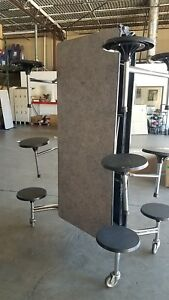 Refurbished Folding Cafeteria Table Gray Pink Glace Top W 12 Black Stools