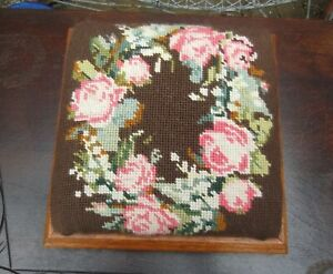 Small Victorian Style Square Oak Foot Stool Four Bun Feet Rose Tapestry