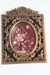 Vintage Ornate Brass Metal Wall Frames Made In Italy Flowers Vase Print 5 1 2 T