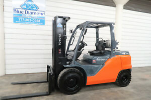 2014 Toyota Forklift 8fg45u 10 000 Pneumatic Lp Gas Three Stage Sideshift