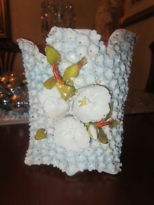 Antique Flower Encrusted Jacob Petit Snowball Old Paris Vase