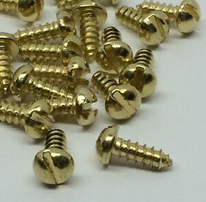 1 000 Round Slot Head Wood Screw 2 X 1 4 Brass Plated Steel Bulk Lot