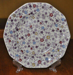 Antique Transferware Ironstone Staffordshire Plate Livesley Powell Forget Me Not