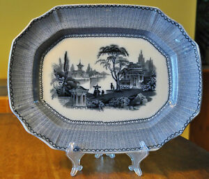 Antique Flow Blue Mulberry Ironstone Staffordshire Platter Sewell S