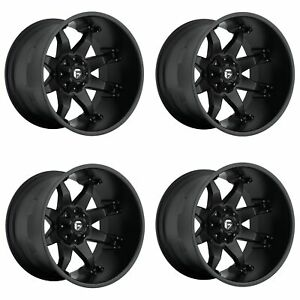 Set 4 22 Fuel Octane D509 Black Wheels 22x14 6x135 6x5 5 76mm Lifted Truck