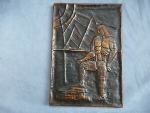 Vintage Art Deco Copper Hand Made Hammered Relief Plaque Furniture Piece 1920s