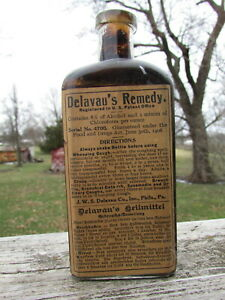Embossed Delavau Whooping Cough Croup Remedy W Nice Label Unopened Example
