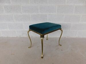 Vintage Paw Foot Solid Brass Stool Vanity Bench