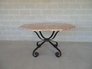 Vintage Spanish Style Heavy Wrought Iron Base Octagonal Marble Top Table 50 W