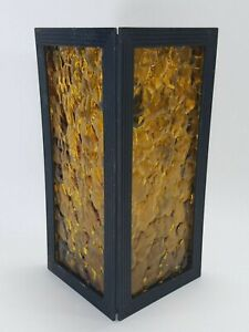 Vintage Mid Century Triangle Textured Amber Glass Porch Patio Light Fixture