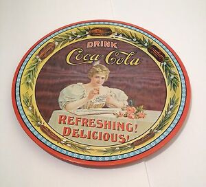 1977 COCA-COLA COLLECTOR'S PLATE 75TH ANNIVERSARY TRAY ADVERTISING ORIGINAL 1902