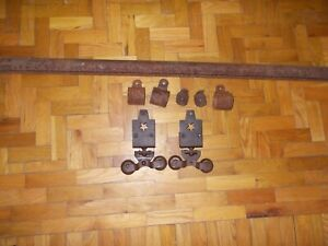 Antique Starline Cannonball Barn Door Hardware Rollers Track End Caps