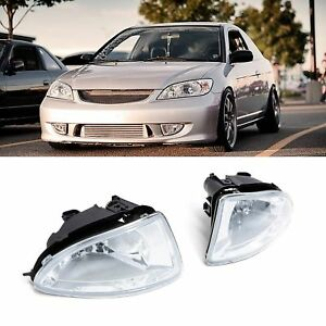 2x For 04 05 Civic 2dr Coupe 4dr Sedan Clear Lens Fog Lights Bulbs Switch Wiring
