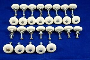 Vintage Lot Of 29 Silver Colored Circle Porcelain Pull Knobs Oatmeal Flecked