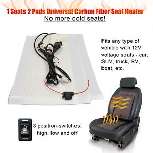 2 Pads Carbon Fiber Car Heated Seat Heater Kit Cushion Warmer Hi Off Lo Switch
