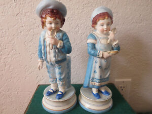 Antique Pair Of French Bisque Children