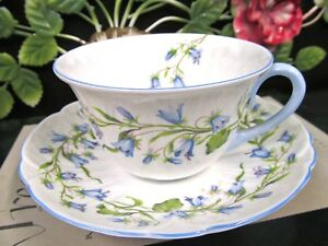 Shelley Tea Cup And Saucer Oleander Shape Harebell Pattern Blue Trims Teacup