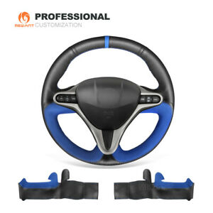 Black Leather Blue Suede Steering Wheel Cover For Honda Civic Civic 8 2006 2011