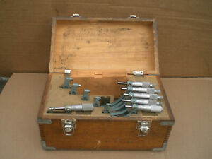 6 Pc Mitutoyo 1 6 0001 Outside Micrometer With Standards And Wood Box