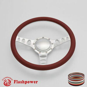 15 5 Billet Steering Wheel Burgundy Half Wrap Gm Cutlass Impala Chevy W H