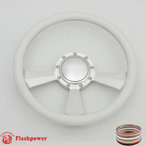 14 Billet Steering Wheel White Half Wrap Ford Gm Cutlass Impala Chevy W horn