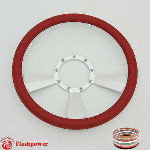 14 Billet Steering Wheel Red Half Wrap Ford Gm Cutlass Impala Toronado