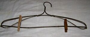 Antique Heavy Twisted Wire Clothes Hanger W Clothes Pins Laundry Bath Bedroom
