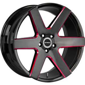 24x10 Red Milled Strada Coda Wheels 5x115 15 Fits Dodge Challenger Charger