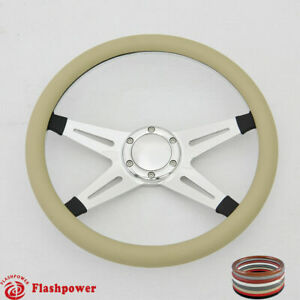 14 Billet Steering Wheel Tan Half Wrap Ford Cutlass Gto Impala Chevy W Horn