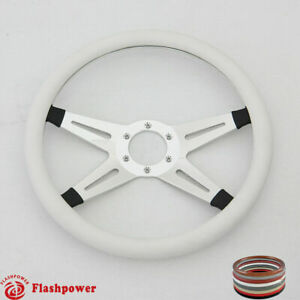 14 Billet Steering Wheel White Half Wrap Ford Gm Gto Impala Chevy Ii