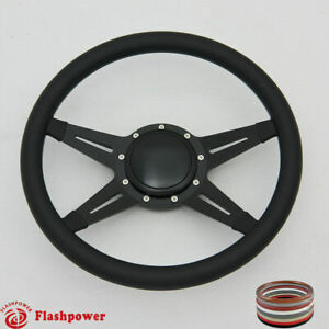 14 Billet Steering Wheels Black Full Wrap Ford Gm Corvair Impala Chevy W horn