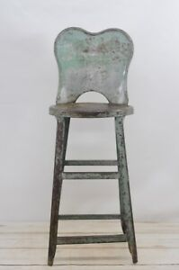 Vintage Kitchen Stool Metal Stool Chair Gray Green Metal Chair Tall Stool